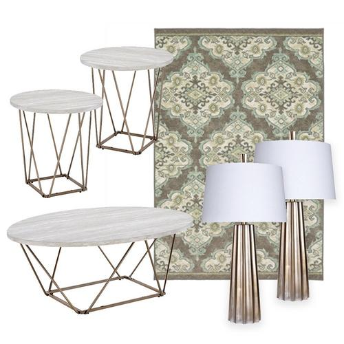 Rowyn Cocktail Table, End Tables, Lamps & Rug