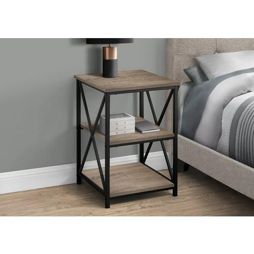 2 Accent Tables Dark Taupe & Black Metal