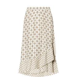 1000117046: Lux Medallion Asymmetric Ruffle Skirt
