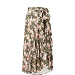 1000249842: Rasaki Crane Print Skirt