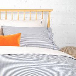1000385091SET: Navy Ticking & Solid Cream Coordinated Bedding Navy