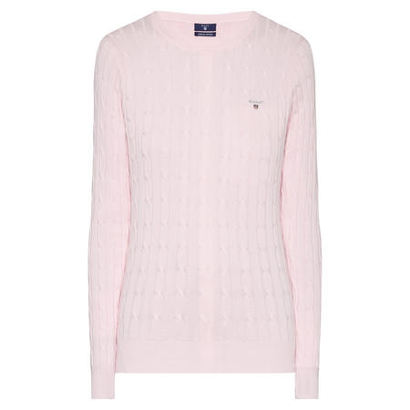 GANT Cable Knit Crew Neck Sweater Light Pink