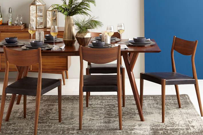 Image of: West Elm Mid Century Expandable Dining Table 152 Cm 203 Cm Walnut Brown Arnotts