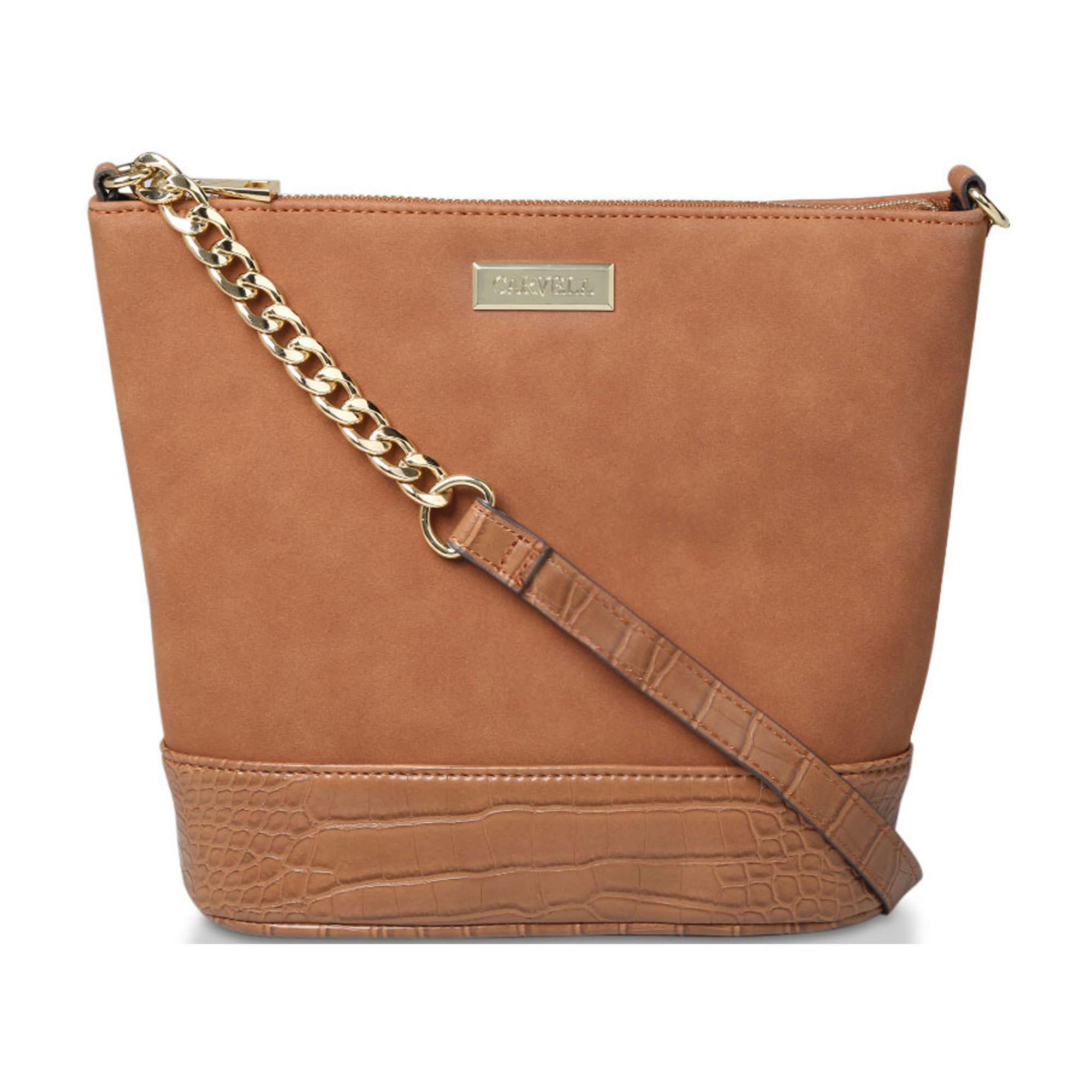 58003592833979BROWN: Rich Zip Top Chain Bucket Bag