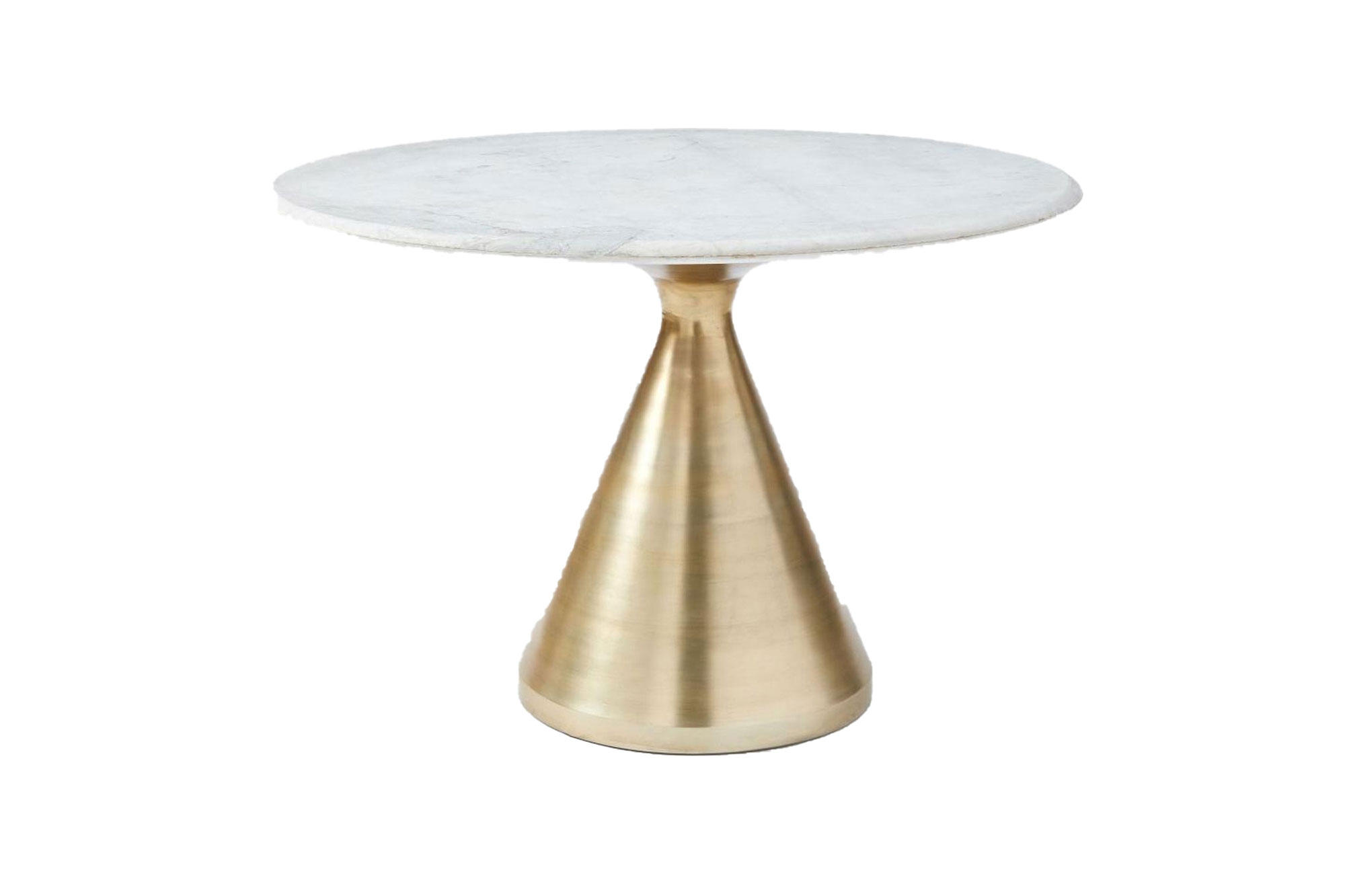 West Elm Silhouette 112 Round Dining Table Marble Top And Antique Brass