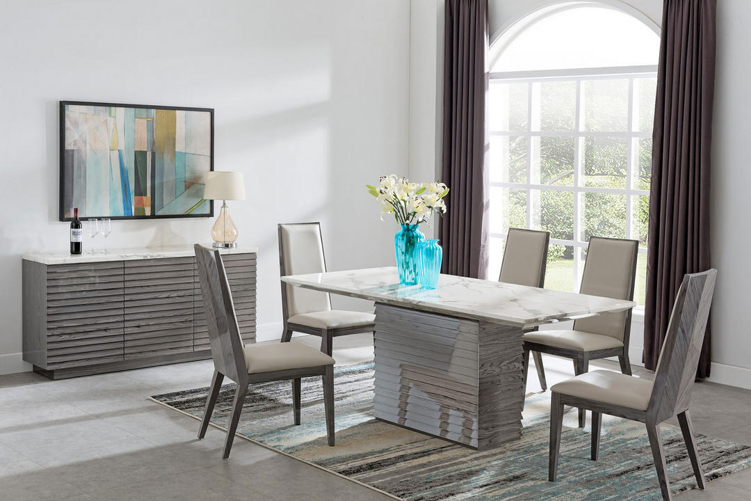 Alfrank Tivoli Dining Table White Marble Grey Lacquer Tiv6261 Arnotts