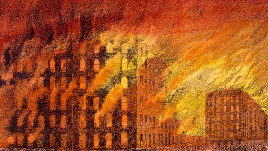 Buildings on fire