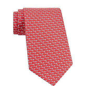 Swimmer Print Silk Tie