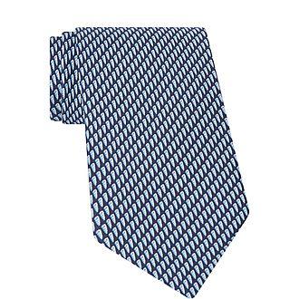 Shell Print Silk Tie