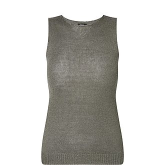 Ribbed Linen-Blend Shell Top