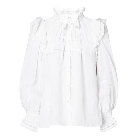 Ruffled High Neck Blouse, ${color}