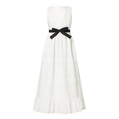 Bow Deep V Tiered Dress, ${color}