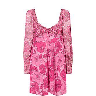 Fara Floral Dot Silk Mini Dress