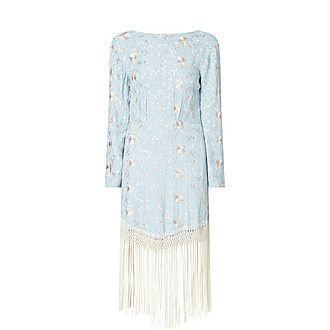 Yolanda Floral Embroidered Tassel Hem Midi Dress