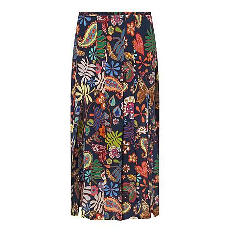 Georgia Floral Silk Midi Skirt, ${color}