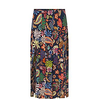 Georgia Floral Silk Midi Skirt