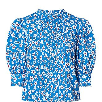 Mandy Micro Dot Floral Cotton Blouse