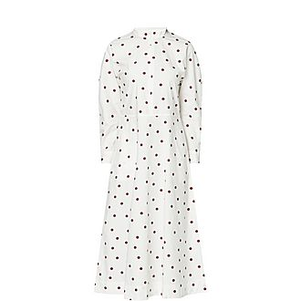 Polka-Dot Print Cotton Poplin Dress