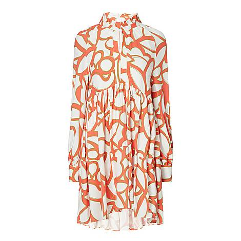 Abstract Printed Tiered Dress, ${color}