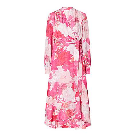Floral Print Modal-Silk Wrap Dress, ${color}