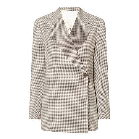 Vivi Checked Linen-Blend Blazer, ${color}