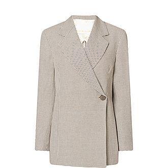 Vivi Checked Linen-Blend Blazer
