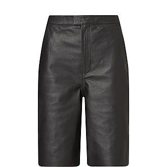 Manu Straight Leather Shorts