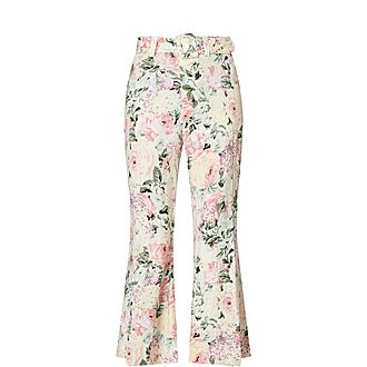 Rose Floral Print Linen Flared Trousers