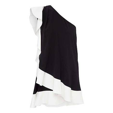 Asymmetric Ruffle Dress, ${color}