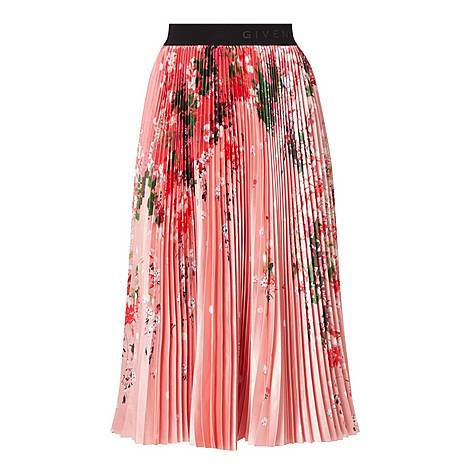 Floral Pleated Midi Skirt, ${color}