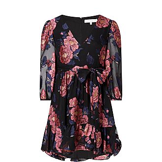 Anita Floral Silk Mini Wrap Dress