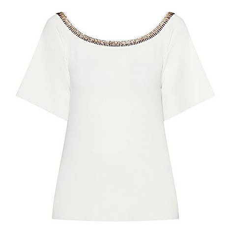 Embellished Collar T-Shirt, ${color}