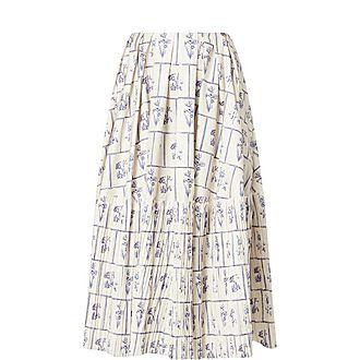 Remy Floral Cotton Midi Skirt