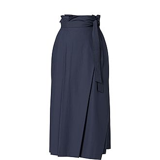Andreis Paper Bag Waist Cotton Midi Skirt