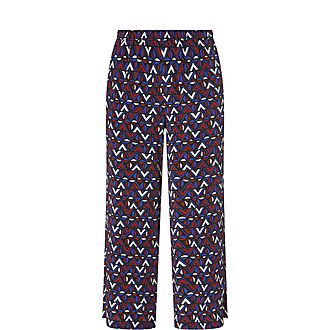 Abstract Print Silk Trousers