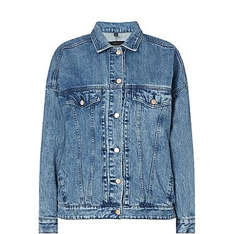 Drew Oversized Cotton-Blend Denim Jacket
