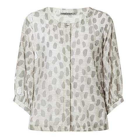 Printed Linen Blouse, ${color}