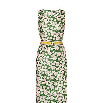 Ginkgo Print Silk Dress