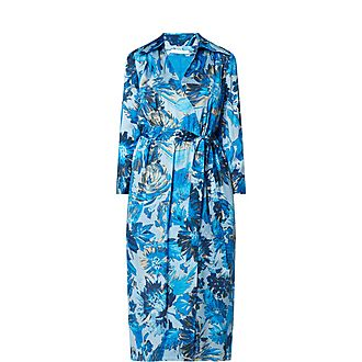 Dantanes Floral Monogram Print Silk Shirt Midi Dress