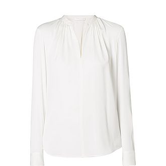 Banota Gathered Silk-Blend Blouse