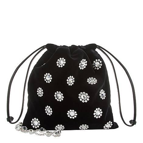 Crystal Velvet Pouch Shoulder Bag, ${color}