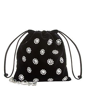 Crystal Velvet Pouch Shoulder Bag