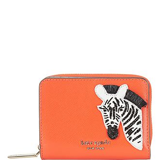 Zebra Graphic Grained Leather Wallet