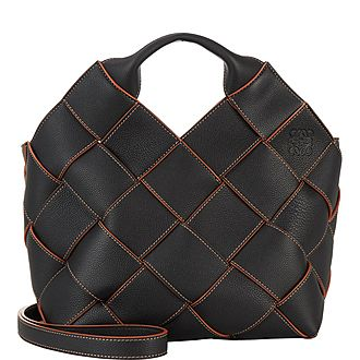 Woven Leather Basket Tote