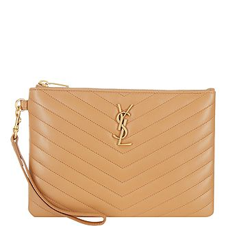 YSL Logo Quilted Leather Pouch