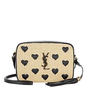 Lou Raffia Heart Crossbody Bag