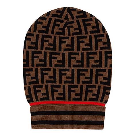 Logo Print Beanie Hat, ${color}