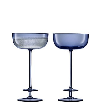 Set of 2 Blue Champagne Saucers