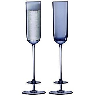 Set of 2 Blue Champagne Flutes