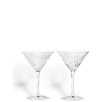 Set of Two Barwell Cut Crystal Martini Glasses